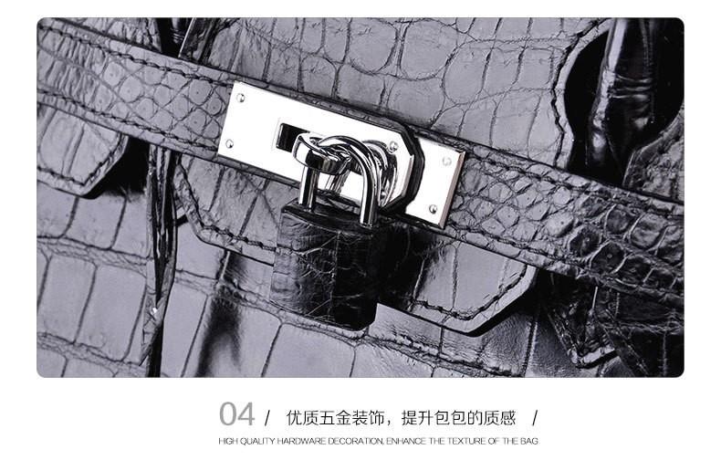 ซื้อ 100%จระเข้ผิวท้องผู้หญิงกระเป๋าถือกระเป๋าสะพายหนังจระเข้แท้Messengerกระเป๋ากระเป๋าถือสีดำ