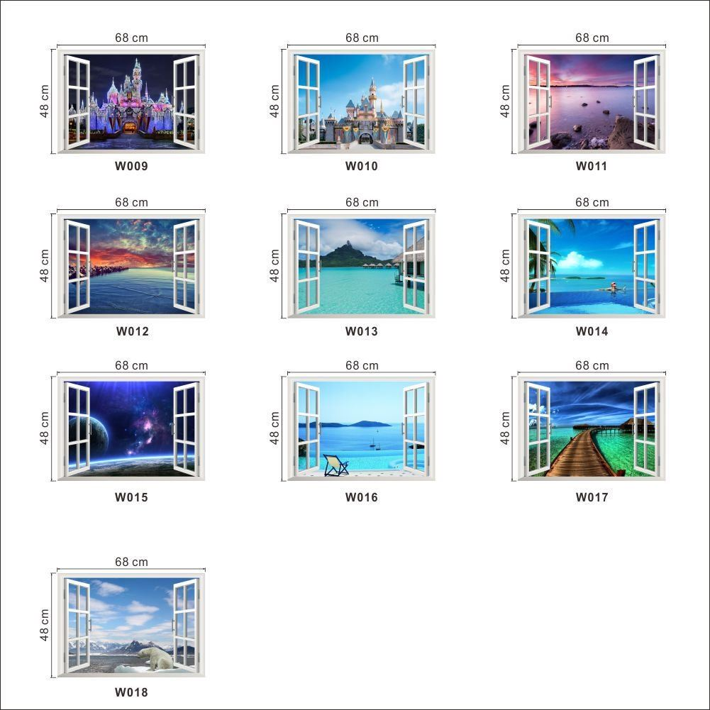 Fantastic Window Space Landscape Castle Sea Wall Stickers Home Decoration for Living Room Bedroom Arts Decals(China (Mainland))