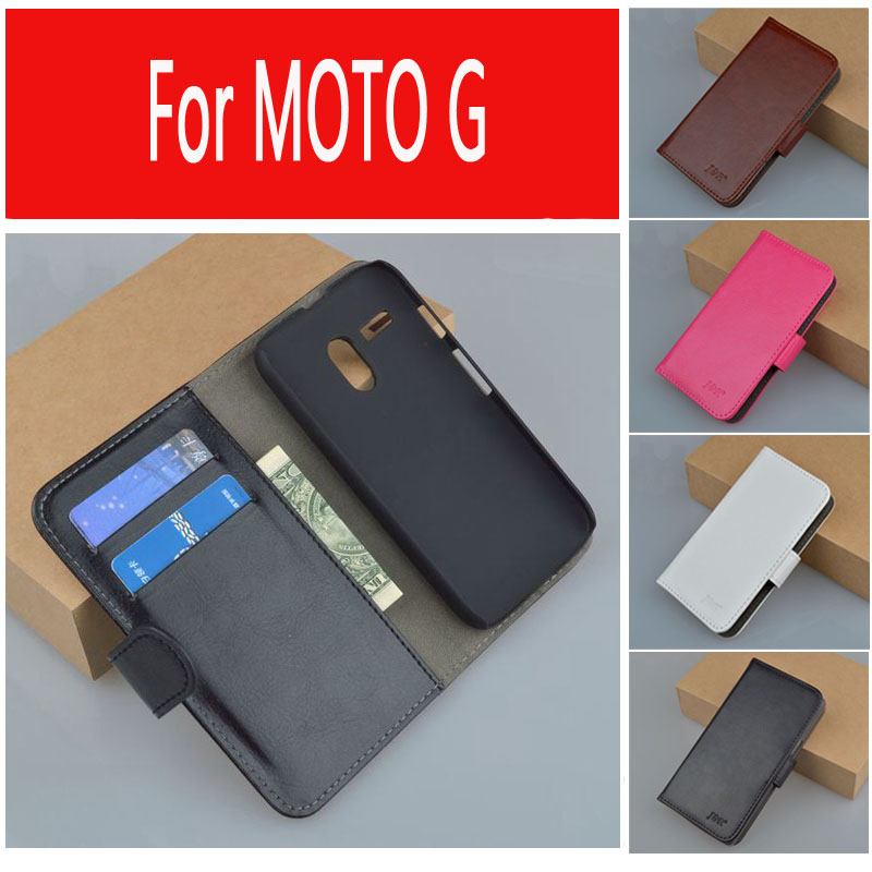 J&R High Quality Flip Leather Case For Motorola Moto G XT1028 XT1032 XT1031 Phone Bag with Stand and Card Holder 9 Colors(China (Mainland))