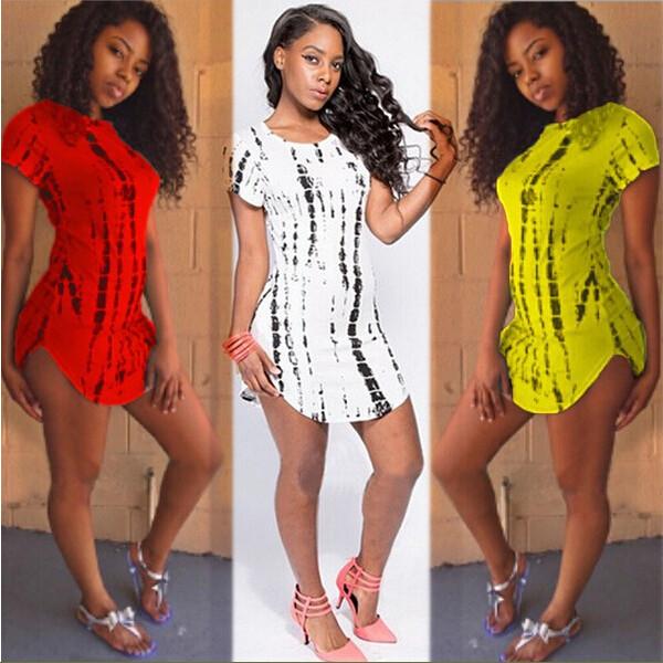 Plus-Size-S-XXL-Summer-Style-Arc-Hem-Women-t-shirt-Dress-Stripe-Printed-Cropped-Side