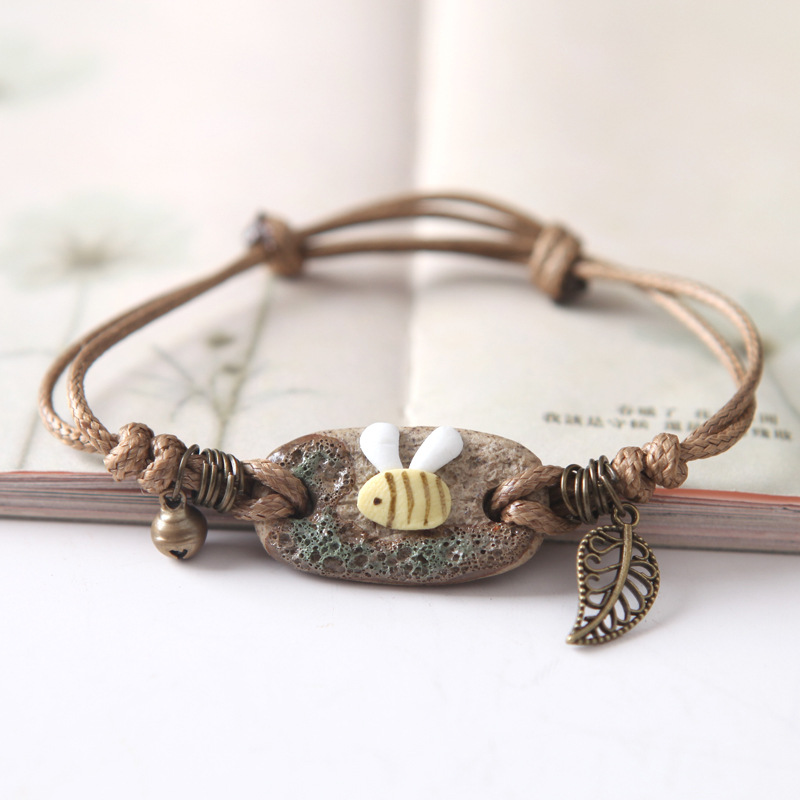 Bracelet Vintage Jingdezhen Bangles Ethnic Style Hand Painted Bohemian DIY Pure Manual Weaving Adjustable Rope Girls Gift(China (Mainland))
