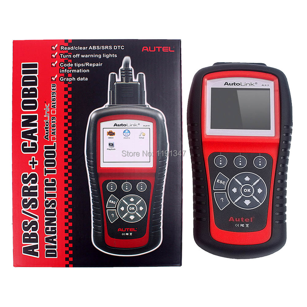 Original AUTEL Product Autel AutoLink AL619 OBDII&CAN Diagnostic Scan Tool ABS & SRS TFT Color Screen(China (Mainland))