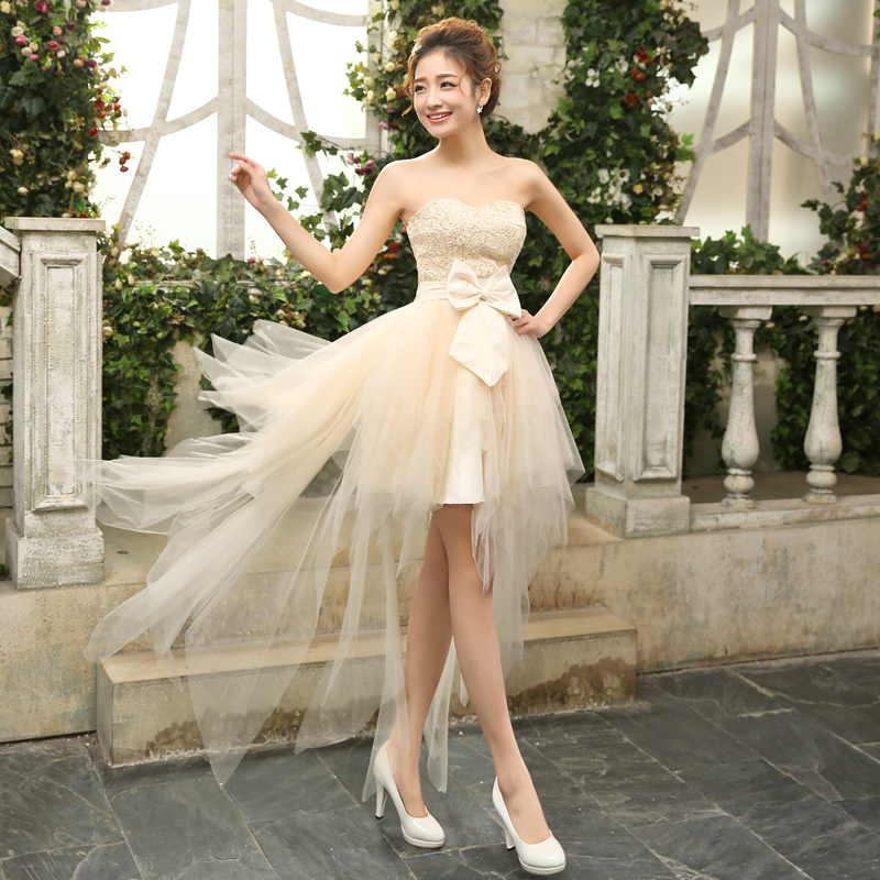 Bridesmaid Dresses The Bride Married Sweet Champagne Lace Strapless ...
