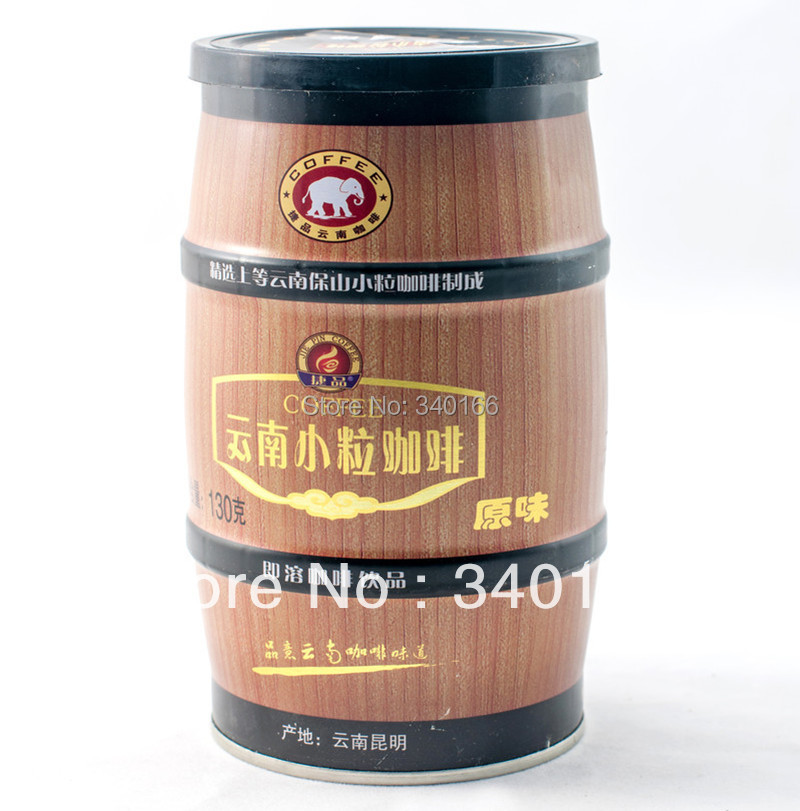 Free Shipping! Small grain coffee canned instant coffee three-in coffee flavor 130g(China (Mainland))