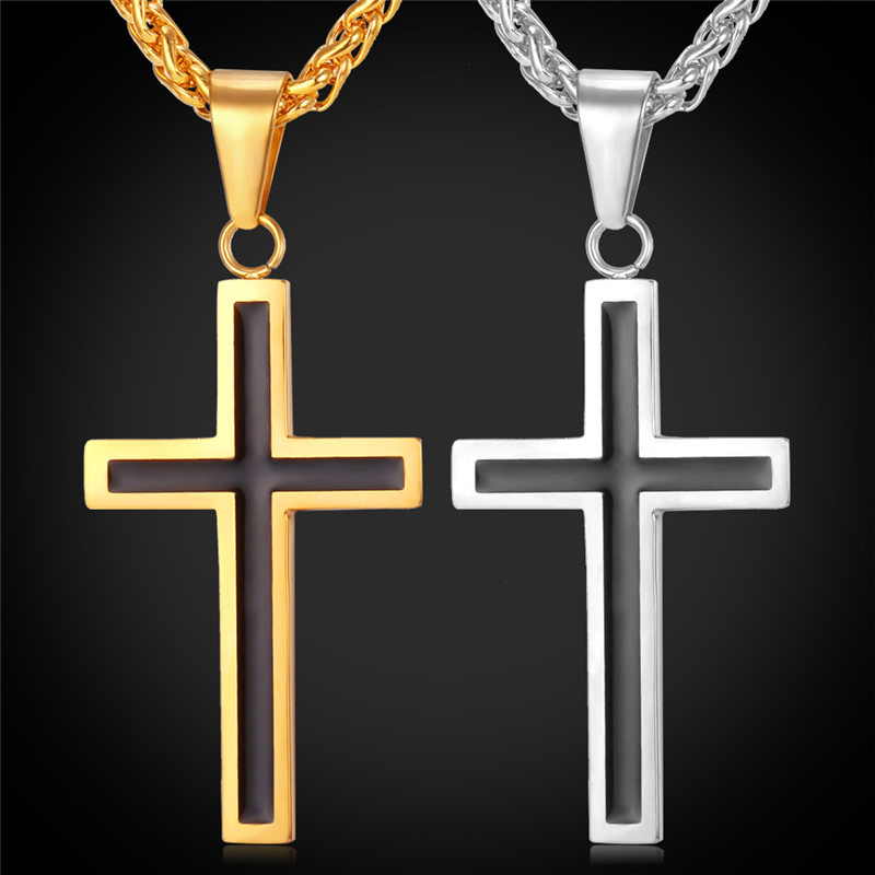 Cross Necklace Christian Jewelry Wholesale Stainless Steel 18K Real Gold Plated Chain For Men Cross Necklace