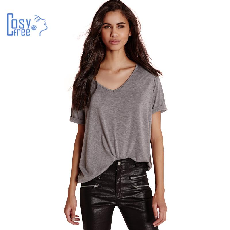 Cosyfree 2016 Summer Sexy Casual Style V Neck Solid Gray