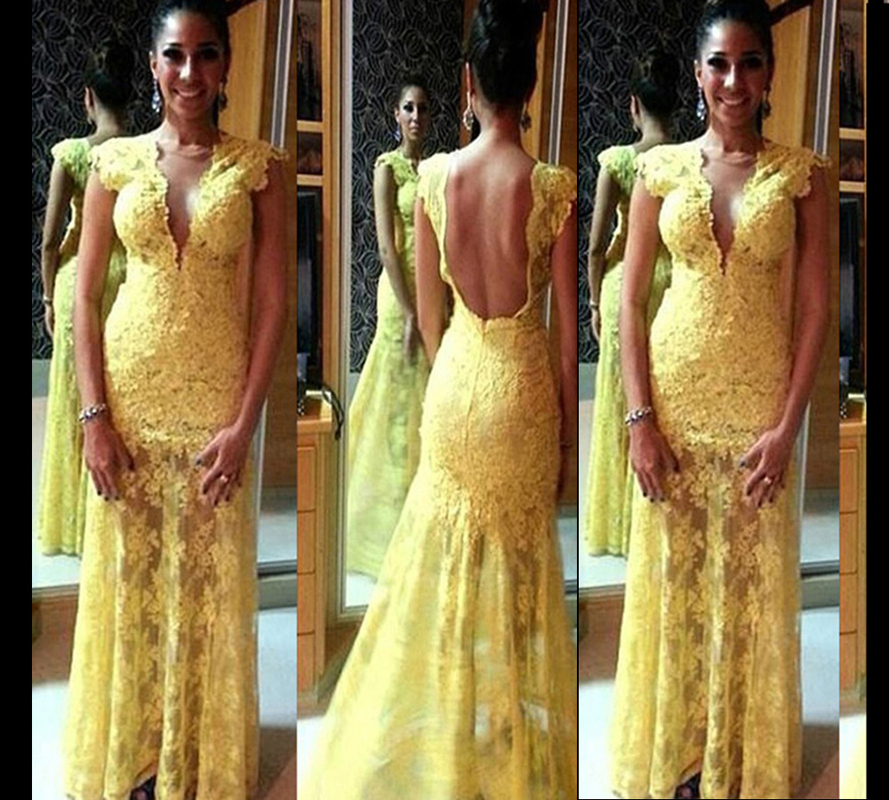 2015 Sexy Yellow Mermaid Lace Prom Dresses Backless Elegant Vestido De Festa Long Satin Evening Gowns Fashionable Formal Dress(China (Mainland))