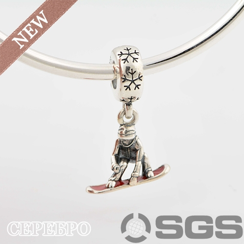 AUTUMN COLLECTION 925 Sterling Silver SNOWBOARDER, RED ENAMEL Charm and Beads Fit Pandora Bracelet, LW416(China (Mainland))