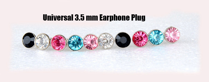 Luxury Bling Diamond Small Dust Plug 3.5 mm Earphone Plug For iphone 4 4s/5 5 Phone Accessories Random Color shipping 10pcs/Bag