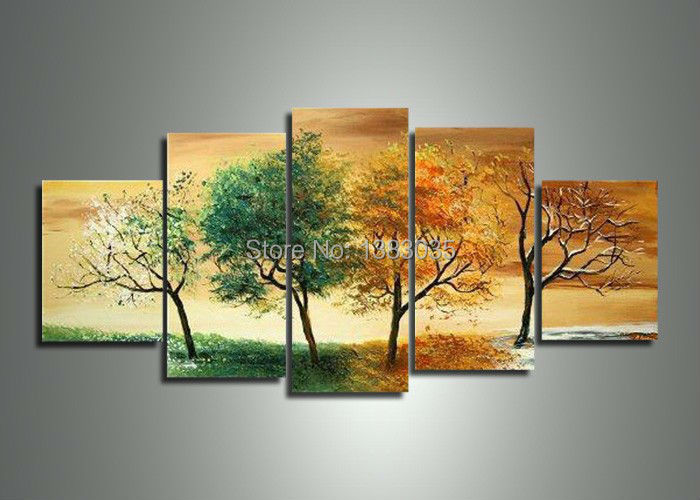 Hand Painted Modern 4 Season Wall Art Tree Oil Painting Set Home Decoration 5 Piece Canvas Abstract Sale Frame - Fashion store