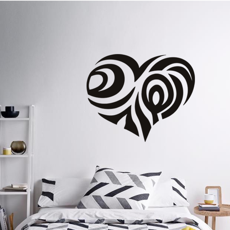 Art design cheap vinyl home decoration flower heart wall for Cheap wall mural decals