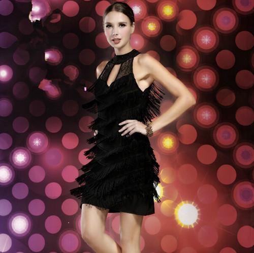 2014 Sex women lace tassel latin salsa dance dress, stage performance show match ballroomОдежда и ак�е��уары<br><br><br>Aliexpress