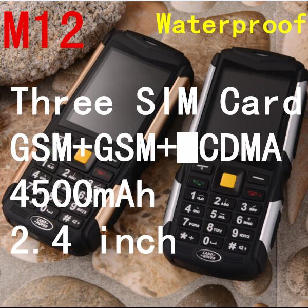 Original M12 phone IP68 Waterproof Shockproof Dustproof phone Long standby 4500mAh dual Sim card GSM Russian Keyboard ADMET B30(China (Mainland))