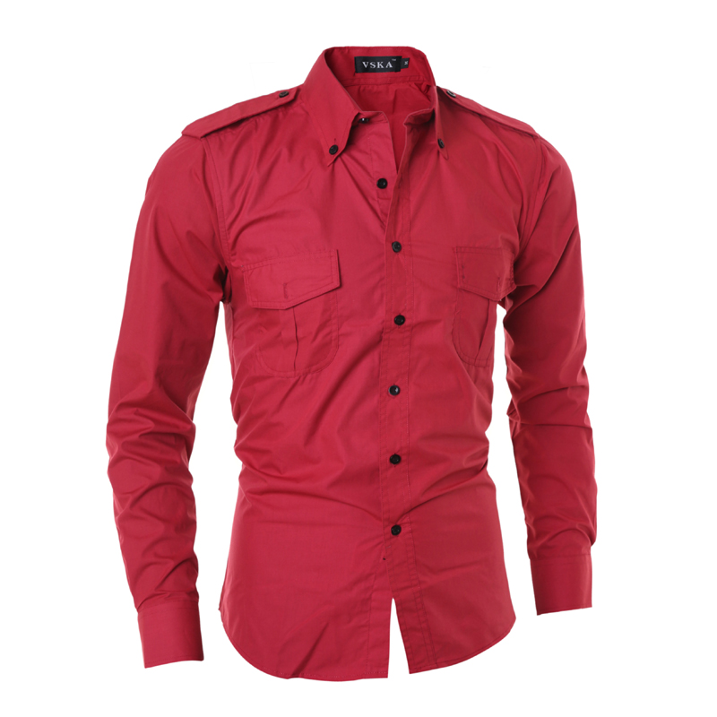 Men long sleeve casual slim fit shirt epaulet double for Solid color button up shirts