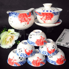 hollow ceramic tea coffee cup linglong chaju loukong china  teasets 8pcs