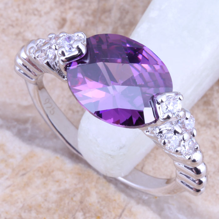Splendid Purple Amethyst White Topaz Silver Stamped 925 Fashion Jewelry Ring Size 6 / 7 8 9 Free Gift Bag R1525 - jewelry1688 store