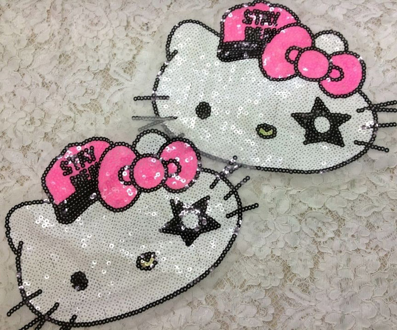3pcs parches para la ropa Hello Kitty Sequined Patches Embroidery Patch For Clothes Kid Dress Blouse Decor Motif Appliqued Badge(China (Mainland))