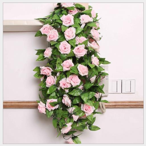 one piece Home Wedding Decoration 2 5M Artificial folowers Silk ROSE Fake FLOWER Ivy Leaf Garland