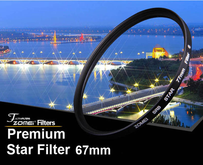 Premium Original Zomei 67mm Professional Star Filter 6 Line Piont 6PT for Canon Eos Nikon Sony Pentax Olympus DSLR Camera Lens(China (Mainland))