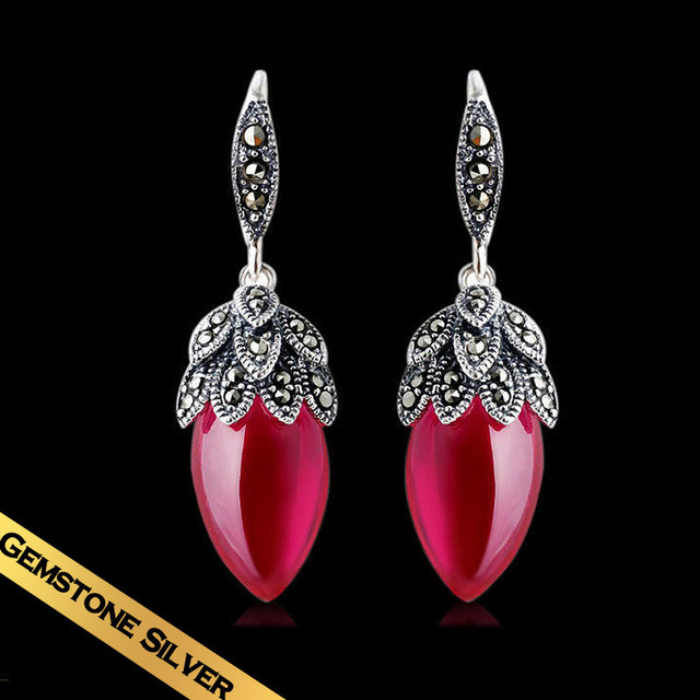 Special Design Red Corundum Drop Earrings Free Shipping Vintage S925 Silver Water For Women Girls EH05B04Y