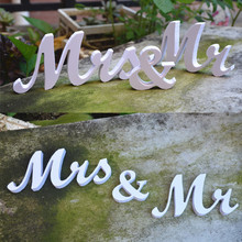 Buy Vintage Rustic Wedding Decoration table Letters Mr & Mrs party decoration event anniversary supplies for $6.91 in AliExpress store