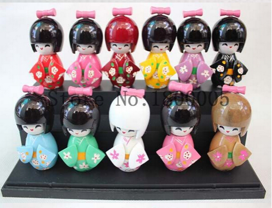 10pcs/set 9 cm Wood CUTE Oriental Japanese KOKESHI Doll with KIMONO Figure doll girls kids toys gift IN boxes(China (Mainland))