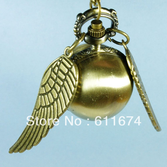 Min.order $10 (mix order) Harry Potter Enchanted Golden Snitch pocket WATCH necklace Double Sided wings - jewelry2012 store