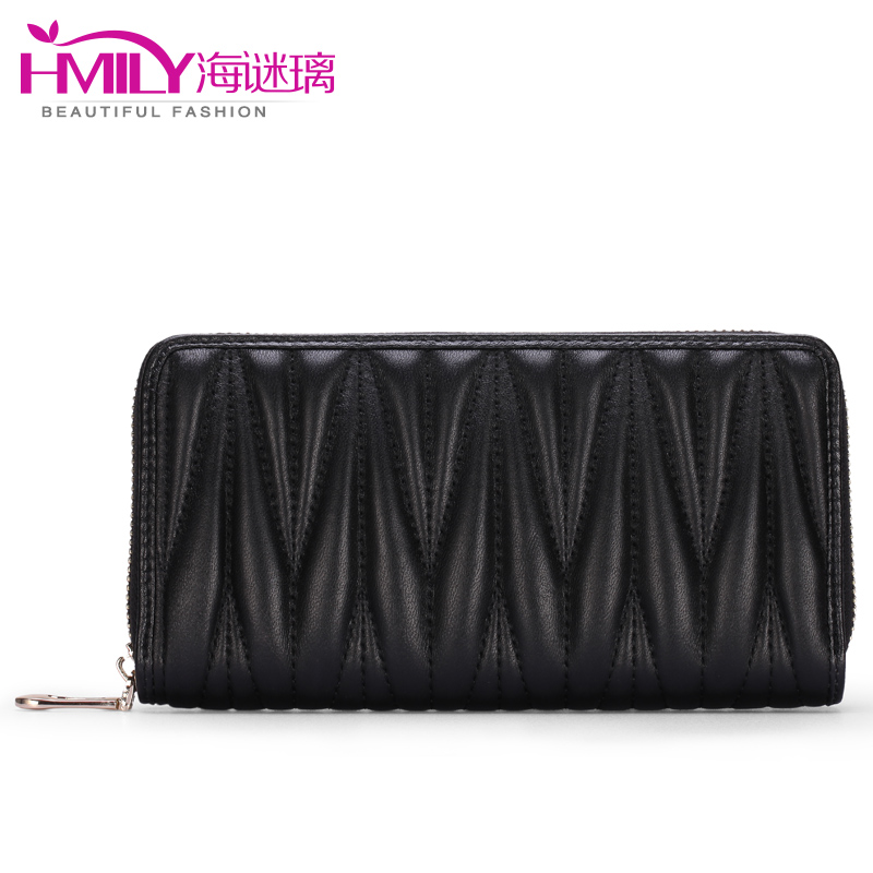 Mini 2016 women wallet large capacity trendy party bag England style wave line ladies purse transverse waterproof card holder(China (Mainland))