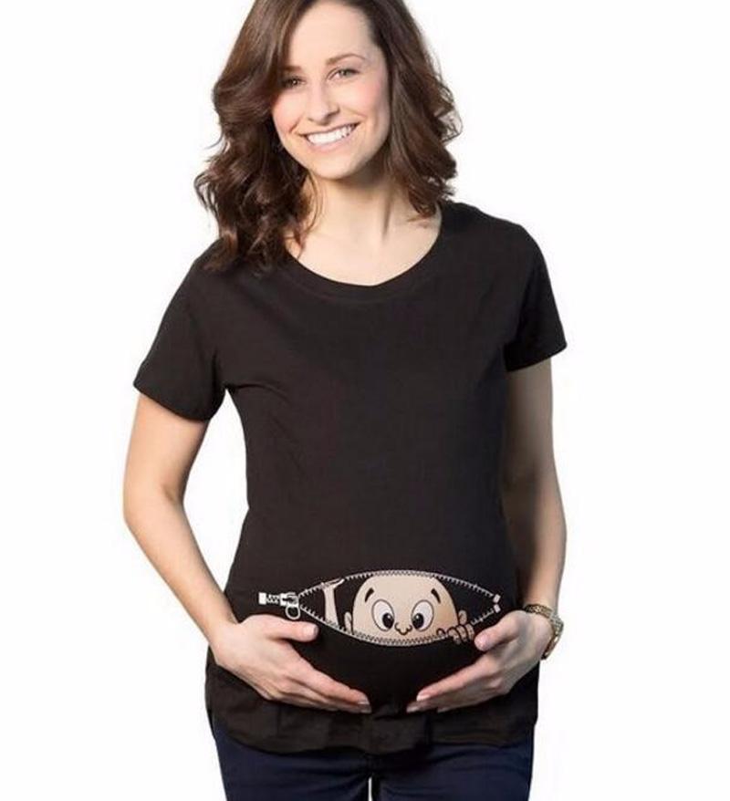 2016 summer baby peeking out print Tshirt Women Funny cotton Pregnancy casual Tee shirt femme fashion harajuku brand kawaii tops(China (Mainland))