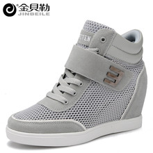 2016 Women Mesh Casual Shoes Plush Fur Breathable Women Boots 6 CM Height Increasing Spring Winter High Top Shoes Zapatos Mujer