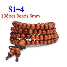 Pulseras 108 Beads 6 Mm Alami Cendana Buddha Kayu Doa Bead Mala Unisex Pria Gelang & Gelang Perhiasan Bijoux(China)