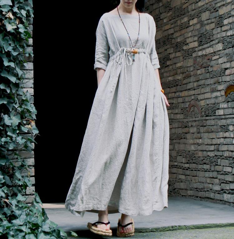 100% linen stripe dress spring season of original design big gown(China (Mainland))
