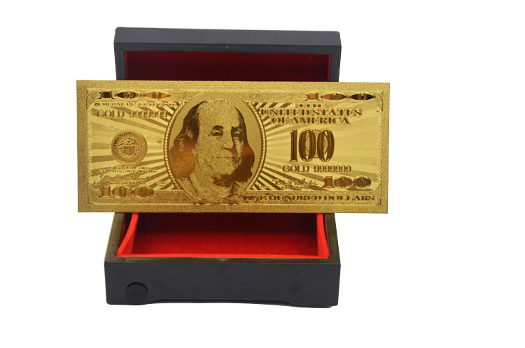 Souvenir Coin United Of America 100 Dollar Bill 24K Gold Banknote 99.9% Gold Plated Banknote Collection Banknote(China (Mainland))