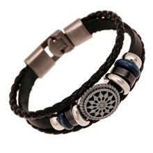 Multilayer Leather Bracelet Men Jewelry With Engrave Rivet Strape Mens Bracelets 2016 Male Accessories Pulseras Masculina B0228
