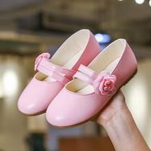 SKHEK לבן ורוד זהב ילדי תינוק פרח נעלי ילדי מסיבת חתונה שמלת נסיכת עור סנדל עבור בני נוער ילדה ריקוד נעליים חדש(China)