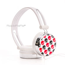 Rockpapa Over Ear Cute Skull DJ Headphones Headsets Earphones for Boys Kids Girls Childs Teens Adult iPad mini 1 2 White & Red