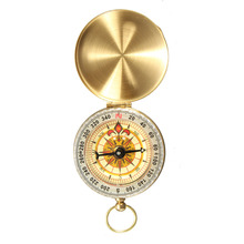 Buy Outdoor portable golden Brass Pocket Golden Compass Navigation Traditional design Double Display Compass for $2.50 in AliExpress store
