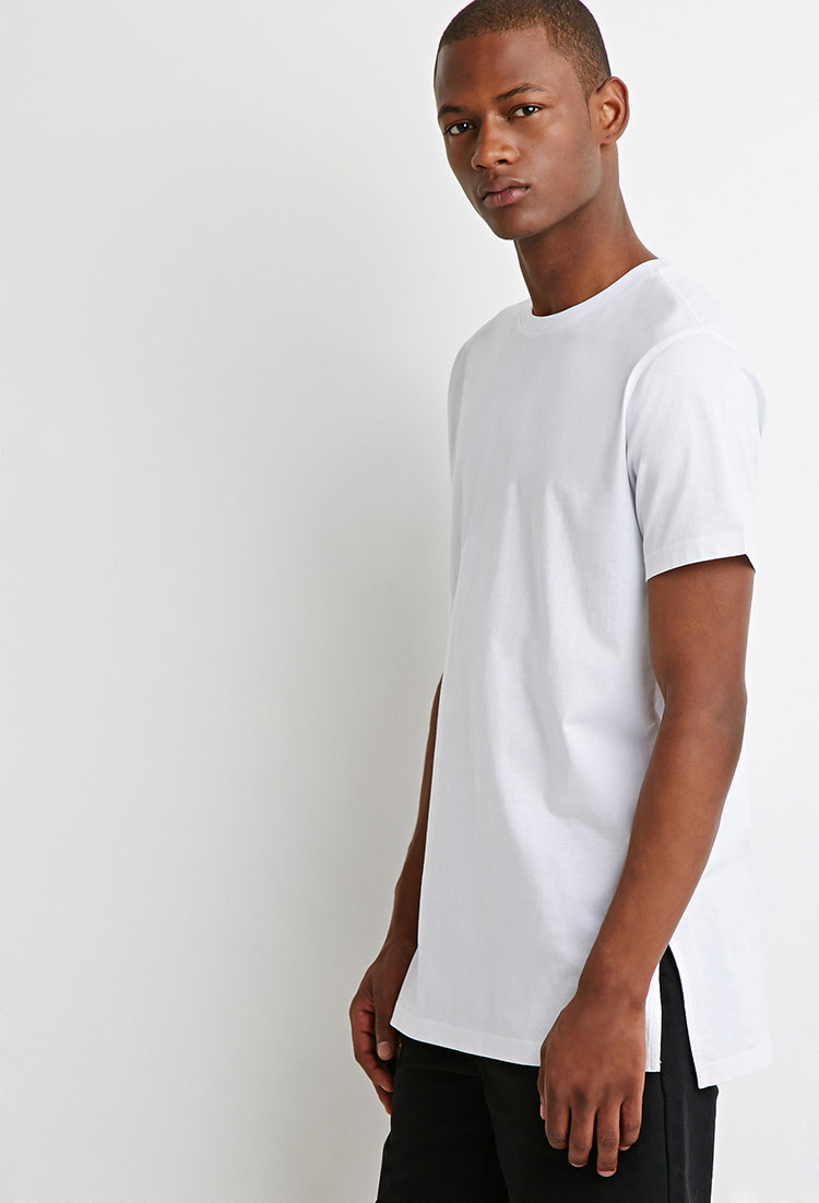 Free Shipping New Arrival Long Side Slit Crew Neck Tee