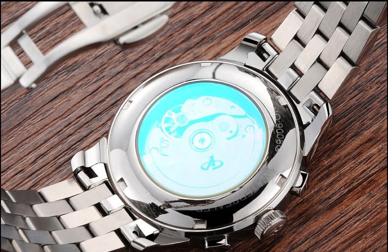 Lunry ЭЗОП смотреть мужчины Moon Phase водонепроницаемый дата нержавеющей стали Автоматические Механические часы relogio мужской