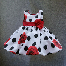 6M-4T baby girls dress Black Dot Red Bow infant summer dress for birthday party sleeveless princess floral vestido infantil(China (Mainland))