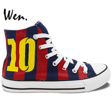 Wen Men Women's Hand Painted Canvas Shoes Custom Design Soccer Jersey Football Number 10 High Top Sneakers for Gifts Presents(China (Mainland))