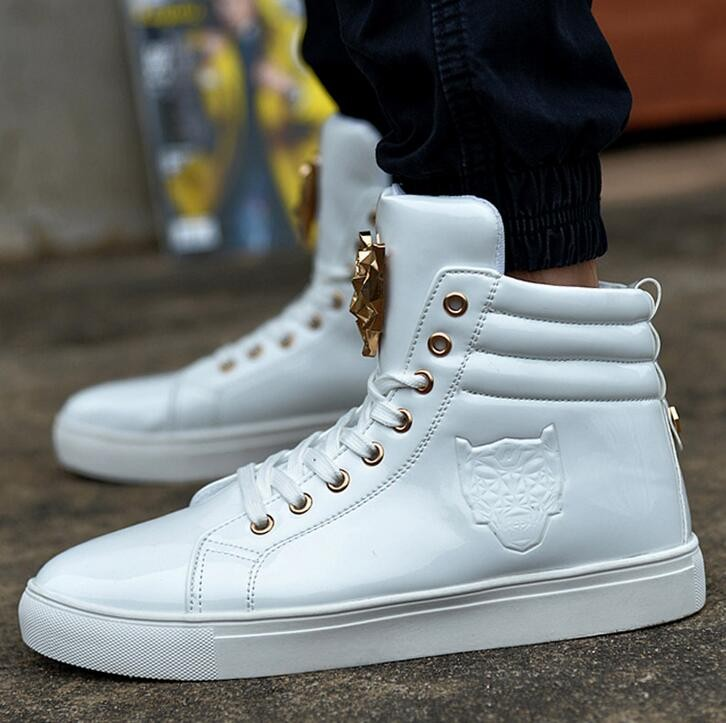 new fashion high top casual shoes for men pu leather lace