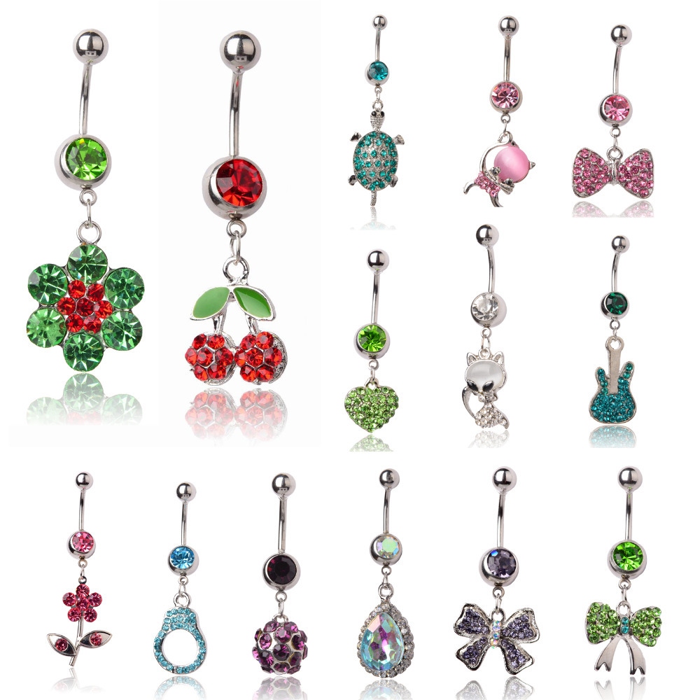 Multi-colors Circle Dangle Rhinestone Plugs Tunnels Navel Body Piercing Belly Button Ring Bars Jewelry Gift - Fair Lady 's Heaven store