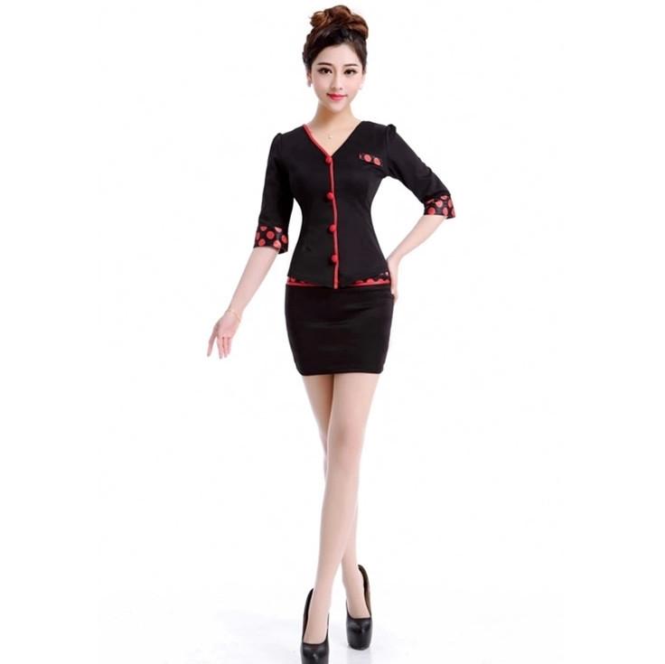 Free Shipping Black Skirt Suits Beauty Hospital Salon Service Uniform Hotal Women Work Wear For Front Desk