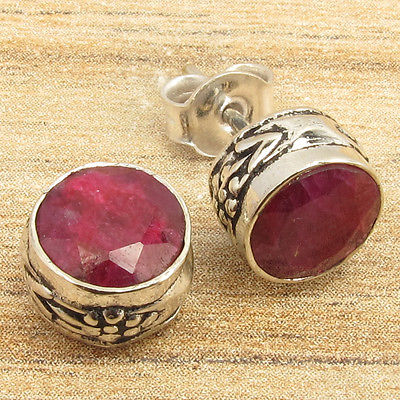 Silver Plated Hot Selling ROUND Facetted RUBY Stud Earrings GIFT FOR FRIEND(China (Mainland))