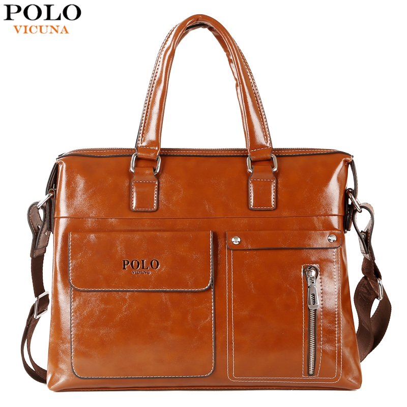 VICUNA POLO Large Capacity Brand Leather Business Man Handbag 14inch Laptop Bag European Casual Men's Leather Briefcase Bag 2016(China (Mainland))