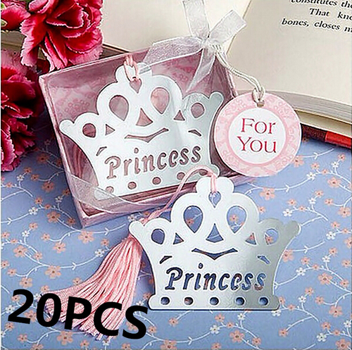 20PCS Bulk Princess Crown Metal Bookmarks Baby Shower Souvenirs Christening Birthday Bridal Wedding Favors and Gifts For Guest(China (Mainland))