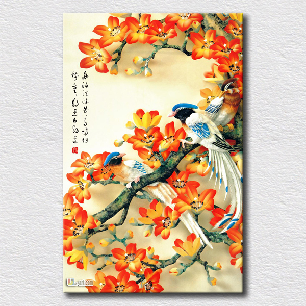 Wall Art Flowers And Birds : Beautiful flowers and birds painting canvas wall art hang