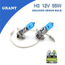 1SET GRANT H3 Halogen Xenon Bulbs 55W 5000K Super White  DC 12V Automobiles Head Replacement Lamps Lights Bulbs for Audi a6 a4
