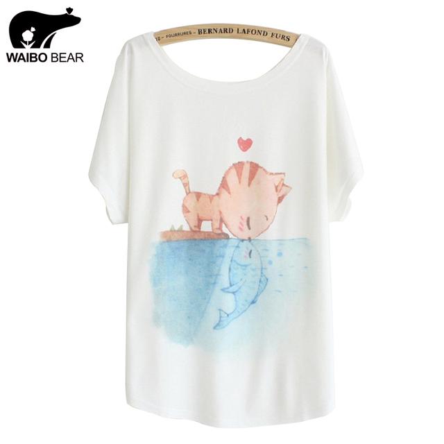 [ Magic ] новый 2016 летом майка женщины стиль размер тонкий плюс широкий batwing рукавом женская футболка cat поцелуй рыба печать топ тис